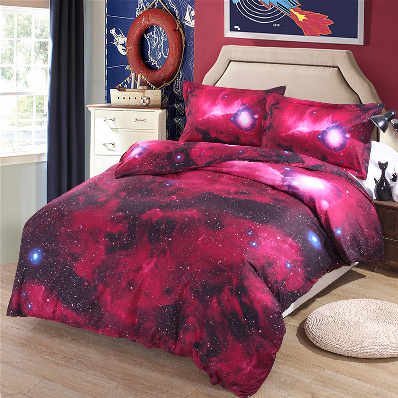 Hipster galaxy bedding set universe outer space themed for Outer space bedding