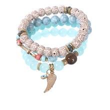 цены Women Beaded Bracelets Bohemia Wing Charm Bracelets & Bangles Set Boho Vintage Jewelry Layered Bracelets