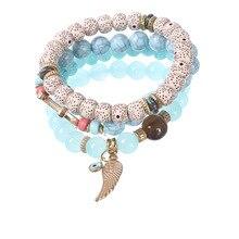 Women Beaded Bracelets Bohemia Wing Charm Bracelets & Bangles Set Boho Vintage Jewelry Layered Bracelets faux pearl charm beaded bracelets set