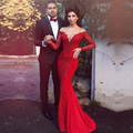 2016 New Middle East style Red Mermaid Sheer Evening Dress with  Sleeve long dress for prom