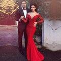 2016 nuevo estilo de oriente medio pura rojo sirena vestido de noche con manguito vestido largo de fiesta