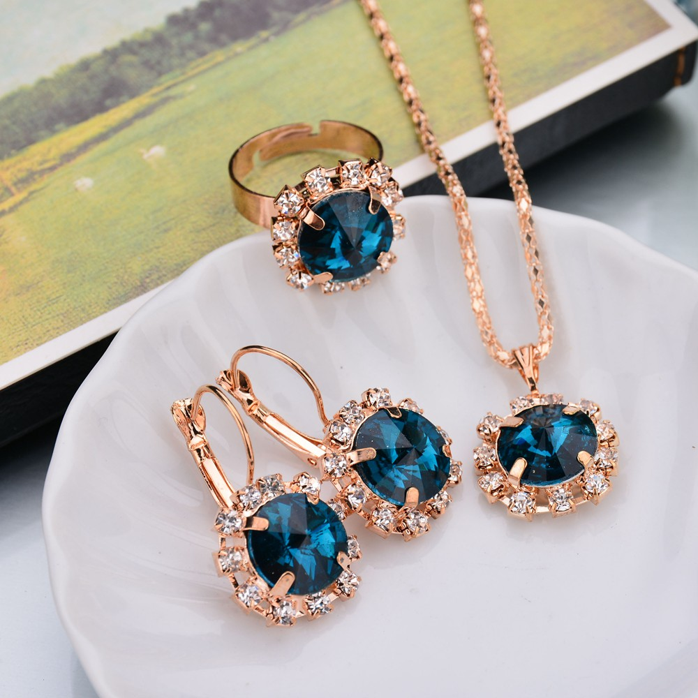 Earrings Jewelry-Sets Necklace Collares Crystal Rhinestone Romantic Luxuories Party