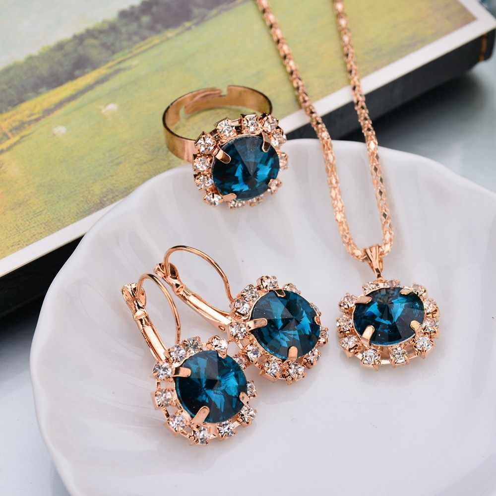 2019 Luxuories Jewelry Sets Crystal Earrings Crystal Party Ring Earrings Necklace Rhinestone Collares Romantic Jewelry