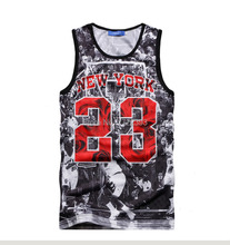 2015 New Summer gym shark top ball game Jordan 23 Print men jersey brand fitness sport