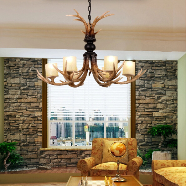 Cast Antler Chandelier with 6 Lights 110-220V free shipping