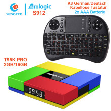 WESOPRO T95K PRO Android 7.1 TV Box Amlogic S912 Octa-Core 2G/16G with wireless keyboard K8 better than TX3 A95X X96 H96(China)