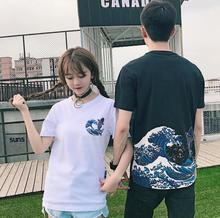 Summer new Korean Harajuku BF retro carp pattern top round neck loose simple short – sleeved T- shirt