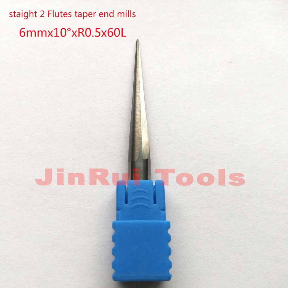1pc 6mm*10D*R0.5*60L*2F HRC55 angle 10 solid carbide Tapered Ball Nose End Mills milling cutters Wood CNC Engraving Router bits 1 2 5 8 round nose bit for wood slotting milling cutters woodworking router bits