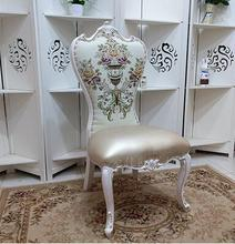 купить European-style dining chair solid wood soft chair princess chair ivory white hotel manicure and dressing back chair . дешево