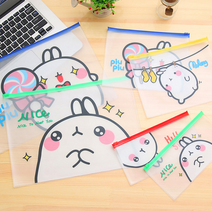 PVC Molang Translucent Matte Bag File Bag Document Bag Folder Stationery Filing Student School Supplies Pen Bag Container