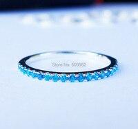 Alta Qualità Delle Signore Solid Sterling Silver & Mid Blu CZ Anello Pila