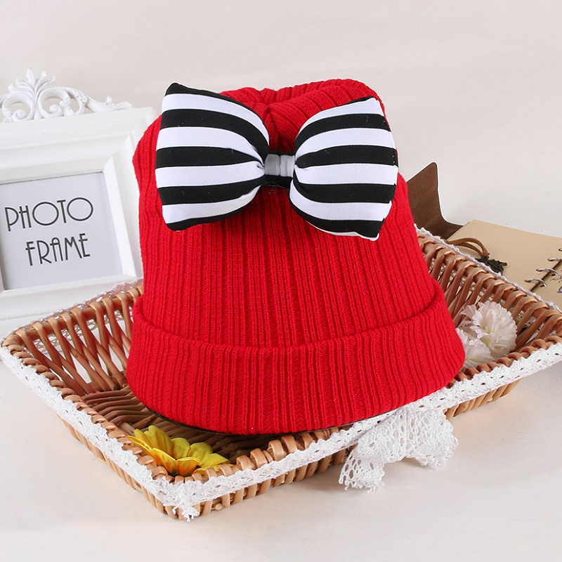 Cute Kids Striped Bow Hat Children Woolen Crochet Knitted Caps Girls Photography Headwear Caps Winter Warm baby hat cute the high quality knitting wool hat children winter warm knitted cap girls photography headwear caps