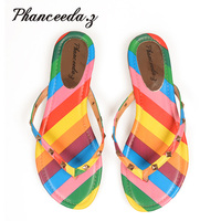 New 2017 Summer Style Shoes Women Sandals Fashion Rivets Flats Top Quality Rainbow Flip Flops Sexy