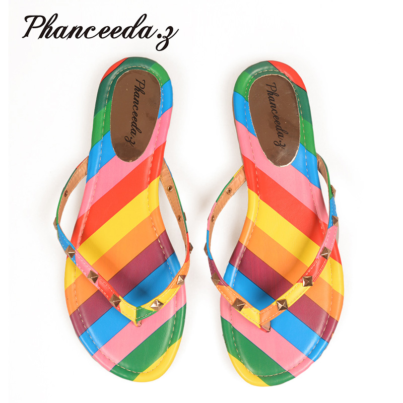 22392c9748ec6 New 2017 Summer Style Shoes Women Sandals Fashion Rivets Flats Top Quality  Rainbow Flip Flops Sexy Slippers Size 5-10