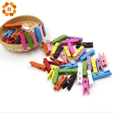 High Quality!10pcs 3.5cm Mini Color Wooden Craft Pegs Clothes Paper Photo Hanging Spring Clips Clothespins For Message Cards