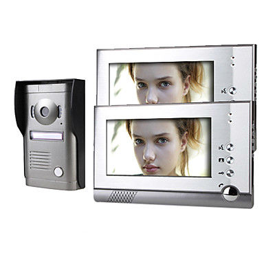 Two 7 Inch Monitor Color Video Door Phone Intercom System with Alloy Weatherproof Cover CameraTwo 7 Inch Monitor Color Video Door Phone Intercom System with Alloy Weatherproof Cover Camera
