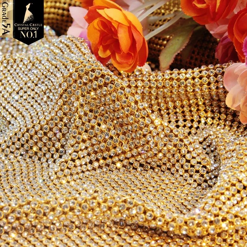 crystal rhinestones mesh with gold_800