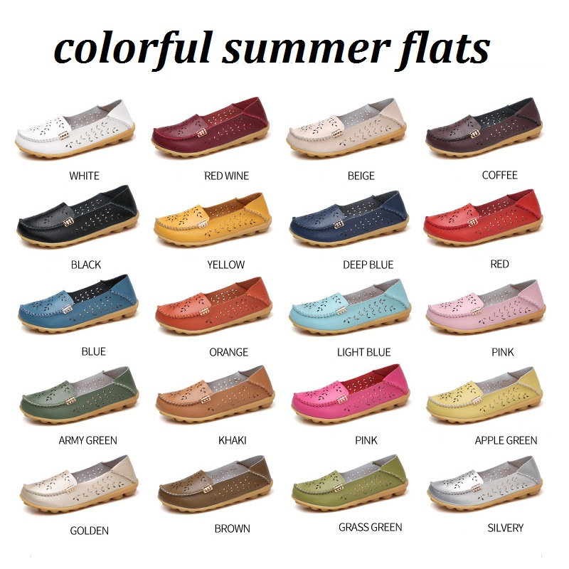 Women Ballet Flats Leather Slip On Loafers Moccasins Round Toe Casual Shoes Flower Summer Boat Shoes Zapatos Mujer Size 35-44