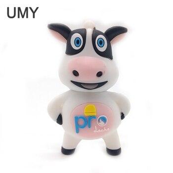 100% real capacity pendrive cartoon dairy cow usb flash drive 64gb 32gb 16gb 8gb 4gb cute animal memory stick pen
