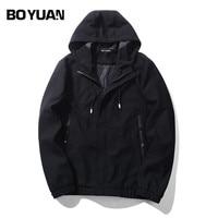 BOYUAN Mens Spring Jackets Bomber Jacket Coat Men Solid Causal Loose Hooded Male Coat EU Size