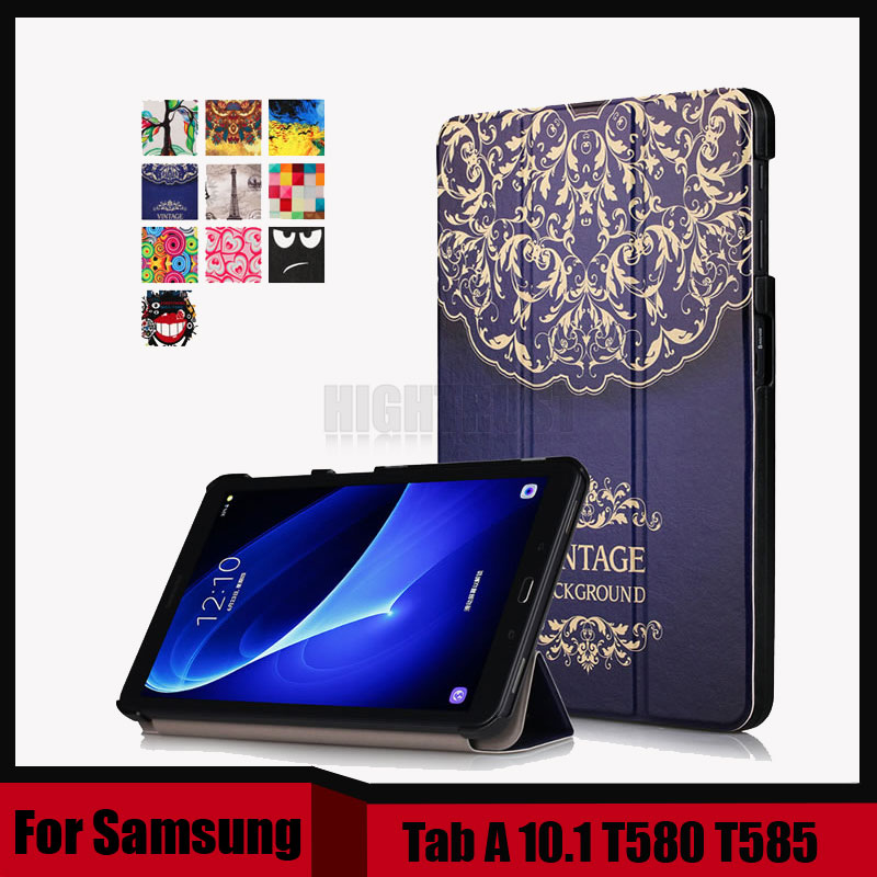 T580 T585 Case for samsung galaxy tab A 10.1 SM-T580 SM-T585 10.1'' tablet PU leather print case + screen protector as gift tempered glass for samsung galaxy tab a 10 1 2016 screen protector for galaxy tab a 10 1 sm t580 sm t585 or sm p580 sm p585