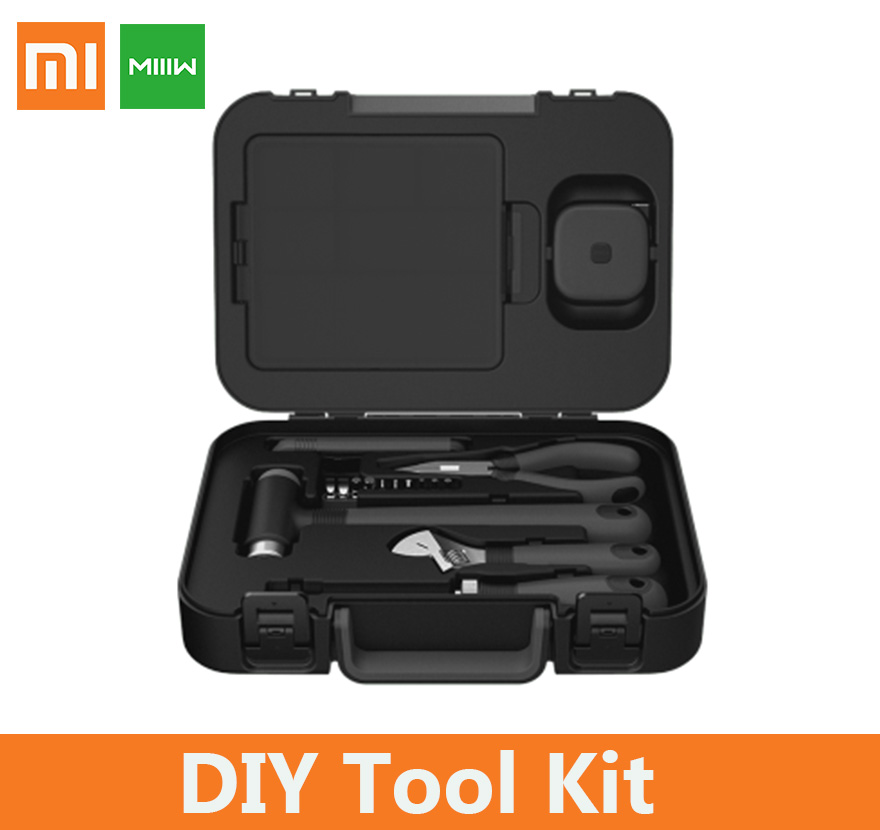 xiaomi MIIIW DIY Tool Kit BOX Hammer Ratchet screwdriver Needle-nose plier Wrench Safety knife Tape measure Storage box for men Отвёртка
