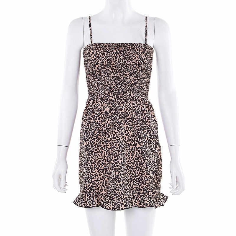 Hugcitar Леопардовый принт с вырезом лодочкой пикантное облегающее платье 2019 летнее женское уличная Плиссированное вечернее платье с высокой талией