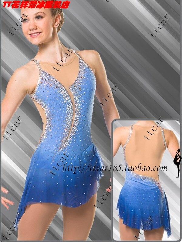 Женщины катание костюм конкурс на фигурных коньках платье для женщин синий на фигурных коньках Одежда Красивая Лидер продаж одежда для кат...