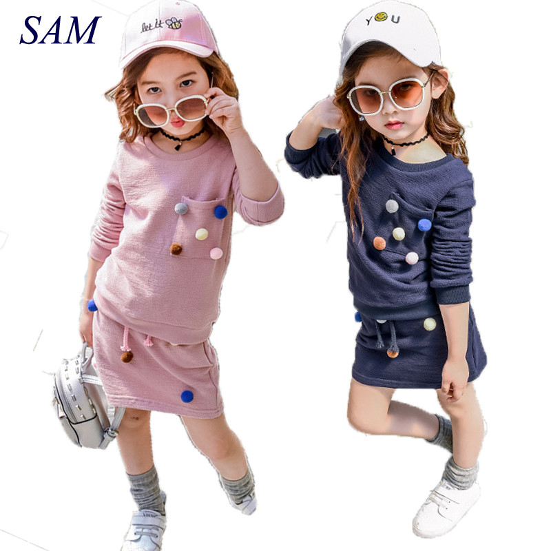 Girls winter clothing set long sleeve shirt with ball with pencil skirt pink and blue color fashion clothes set kids children retail design children clothing set for kids girl dark blue cardigan t shirt pink skirt high quality 2014 new free shipping