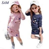 Meninas conjunto de roupas de inverno camisa de manga longa com a bola com saia lápis cor de rosa e azul cor da moda roupas definir crianças crianças
