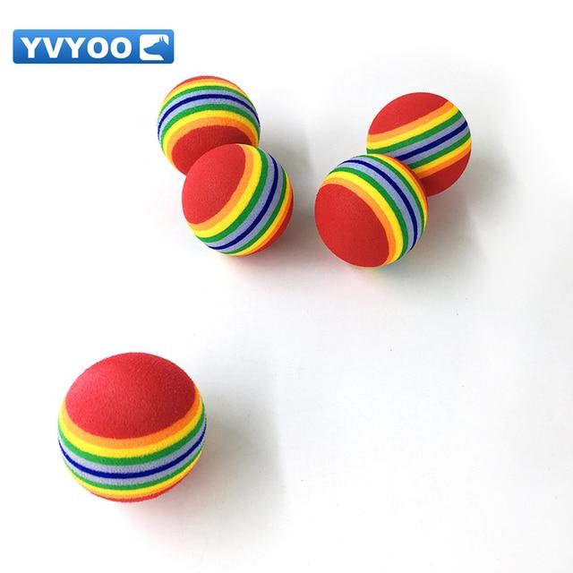 YVYOO Colorato EVA Arcobaleno palla Gatto Cane giocattolo palla Gattino Pet supplies palla rimbalzante Pet Supplies 2 pz/lotto D67