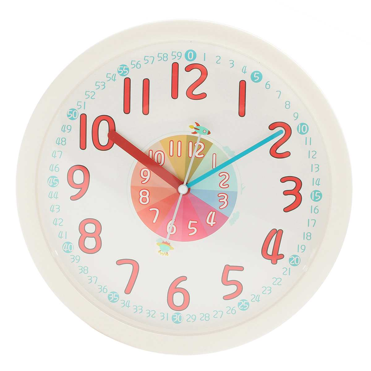 US $18.37 51% OFF Kids Wall Clock Silent Easily learn Time Colorful  Decorative home children room Classroom 12 inch Best Gift Battery-in Wall  Clocks ...