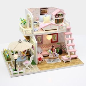 Image 1 - DIY בית בובות מיניאטורות עץ בית בובות Miniaturas ריהוט בית צעצוע בובת צעצועי מתנת בית תפאורה קרפט צלמיות M33