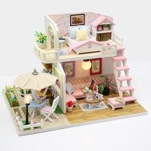 DIY do lalek dom miniaturowe drewniany domek dla lalek Miniaturas zabawkowe meble domek dla lalek zabawki na prezent ozdoba do domu rękodzieło figurki M33