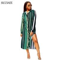 2018 Fall New Green Vertical Striped Maxi Tshirt Dress Long Vestidos De Fiesta Bohemian Style Kaftan Bestidos Fringe Dresses