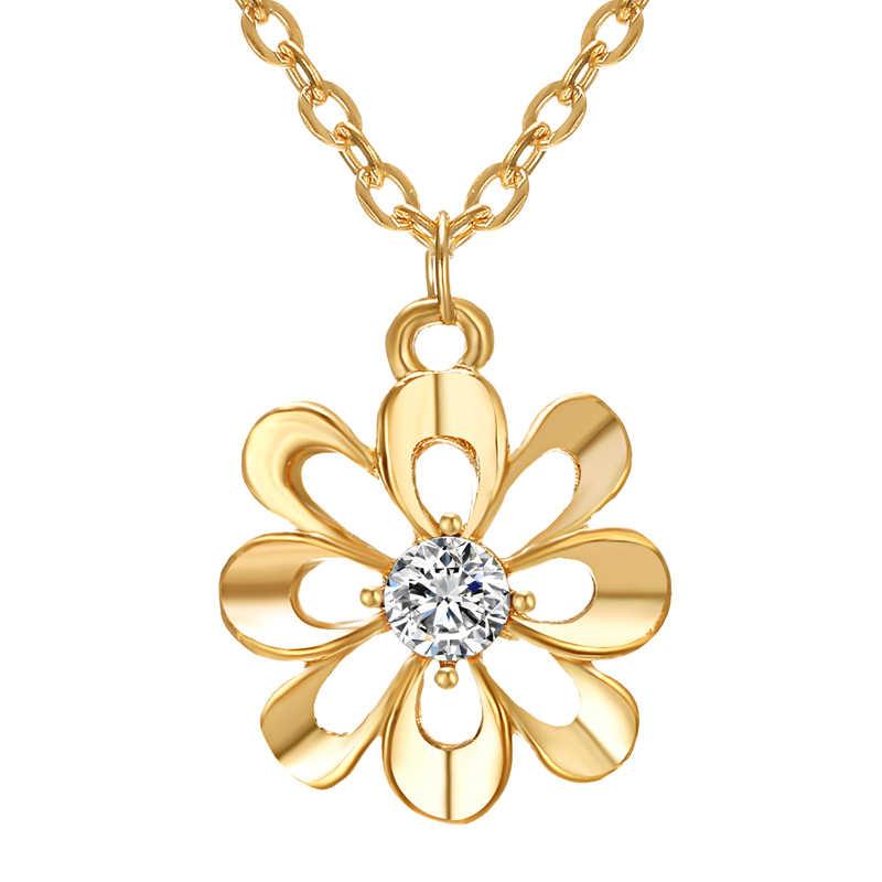 אלגנטי נשים תכשיטי סט זהב פרח תליון שרשראות עגיל טבעות סט די כלה אביזרי חתונה
