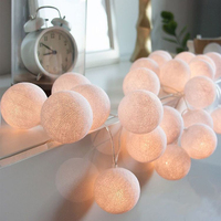 Meaningsfull 3M 20 Globes Handmade White Cotton Ball String Lights Battery Power Garland Holiday Lights Party
