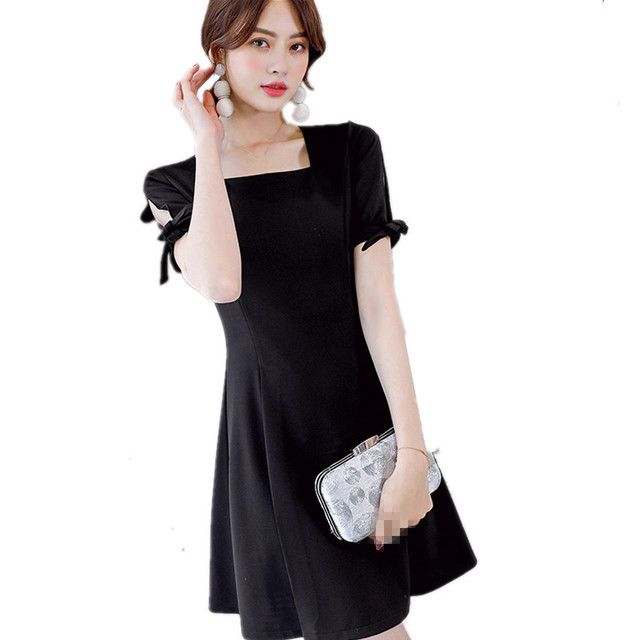 417d832eb13439 B2076 Spring summer 2019 new fashion show thin pure color women s fashion  trend casual short sleeved dress cheap wholesale