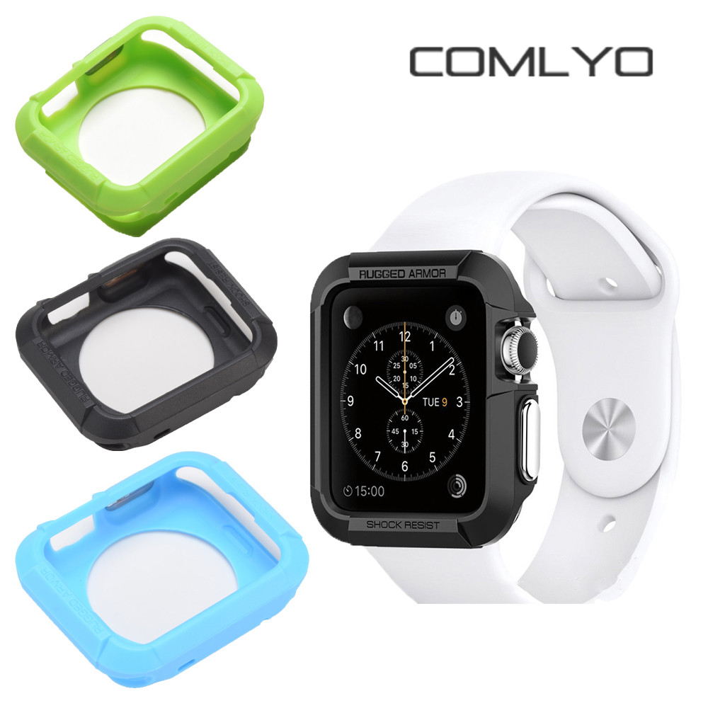 2PCS wholesale Silicone Luxury Ultra Thin Armor Soft cove TPU for iwatch Case For Apple Watch Case 42mm black Cover Accessories