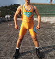 Gold  Superman Wrestling Singlet Aerotics Weight Lifting Suit in Man Tights Fighting Suit Customizable Youth One Piece Jumpsuit