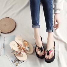 2019 Summer Woman Shoes Sandal Platform Bath Slippers Wedge Beach Flip Flops High Heel Slide  F5