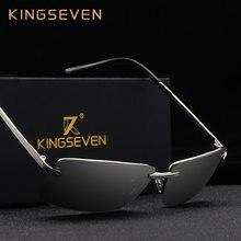 KINGSEVEN – lunettes de soleil sans bords pour hommes, polarisées, dorées, marque de luxe, pour la conduite de nuit, Oculos escuro