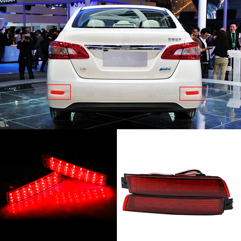 2x LED Car styling Red Rear Bumper Reflector Light Fog Parking Warning Brake Tail Lamp For Infiniti FX37/35/50/Nissan/Sentra cyan soil bay car led rear bumper reflector red parking warning stop brake light tail fog lamp for honda accord 9th 2014 2016