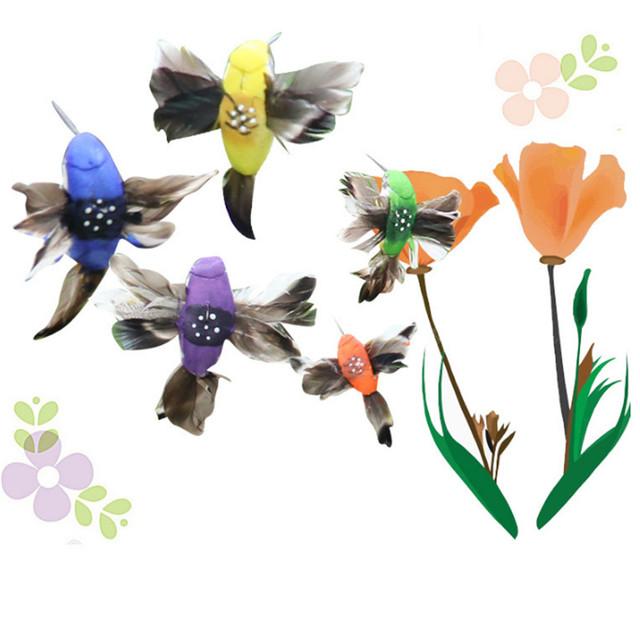 Solar Power Vibration Dancing Fly Fluttering Hummingbird Birds Garden Yard Decorative Stake