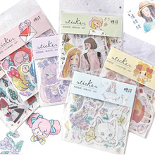 40 Pcs/lot Cartoon Girl Sticker Cat Little Red Riding Hood DIY Scrapbooking Diary Deco Sticky Notes Memo Pad Phone Stickers