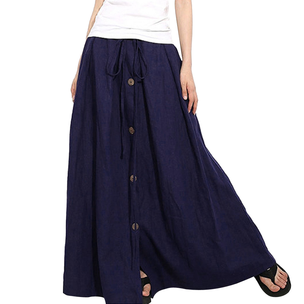Summer New Style Women A-Line Elastic Waist Casual Button Flare Full Length Long Maxi Skirt Navy Color  #25