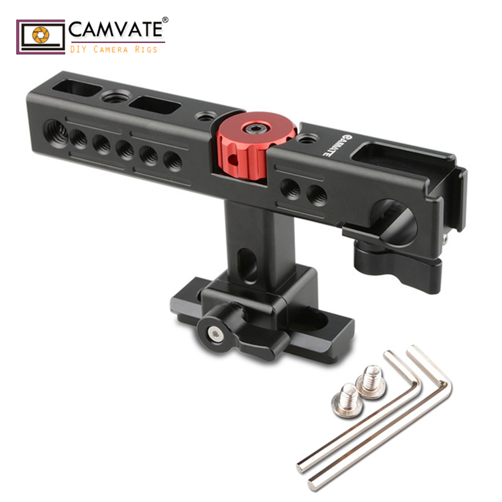 CAMVATE Nato Top Handle Kit with 15mm Rod Clamp & Shoe Mounts for Camera Cage Rig (Black) C1585 camera photography accessories