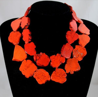 2 Row Irregular Red stone Slice Choker Necklace Exaggerate Woman Gift Woman jewelry Charm