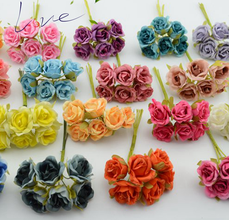 6pcs/lot Silk Gradient Mini Rose Artificial Flower Bouquet For Wedding Decoration DIY Wreath Gift Scrapbooking Craft Flower