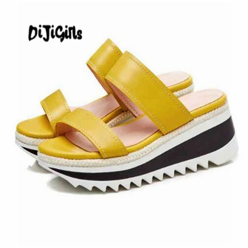 DIJIGIRLS cow leather yellow open toe mature wedges concise style outside slipper dating preppy style platform sandals